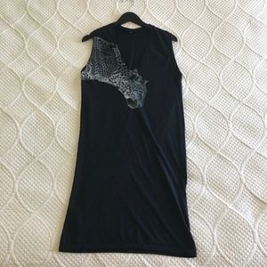 BCBGMaxAzria Leopard Graphic Black Cotton Dress